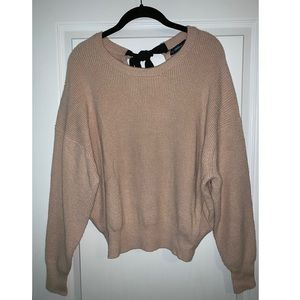 NWT Tan Zara Knit Sweater with Bow Detail SIZE S